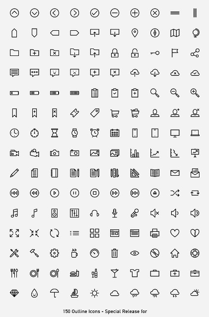 Outlined Icons PSD all
