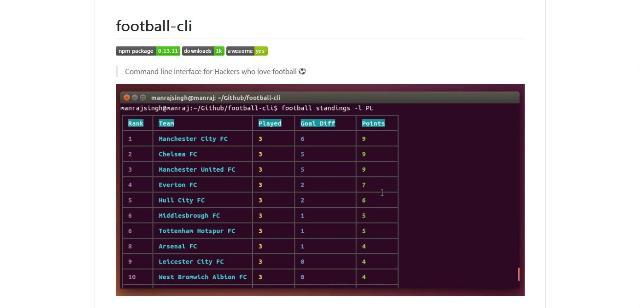 WebDesign Suivre le foot en ligne de commandes - Football-cli