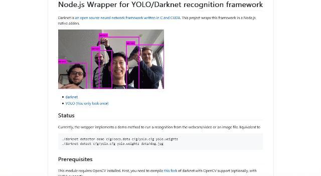 WebDesign Un module Node pour une analyse dimage par des réseaux neuronaux Darknet - Node-yolo