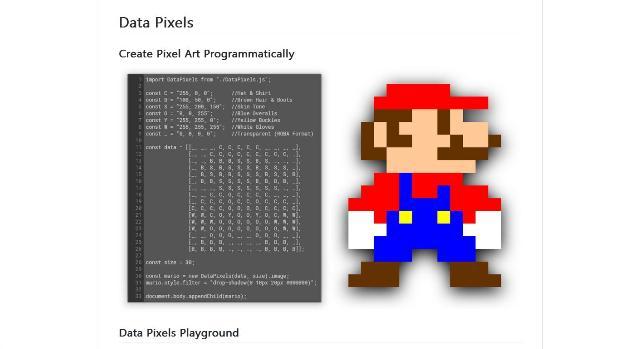 WebDesign Une bibliothèque pour creer des images pixel par pixel - DataPixels.js