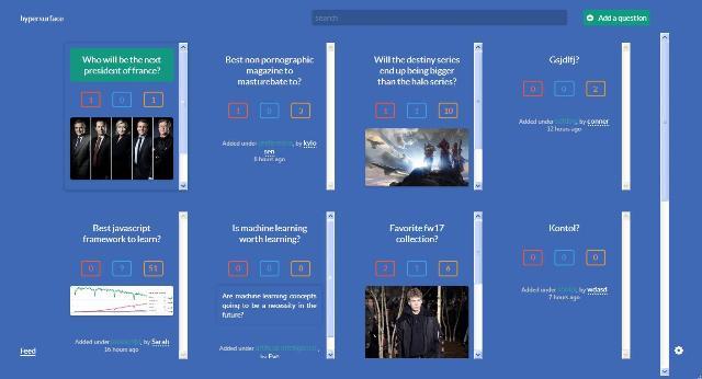 WebDesign Une plateforme JavaScript pour échanger des opinions et des idées - Hypersurface