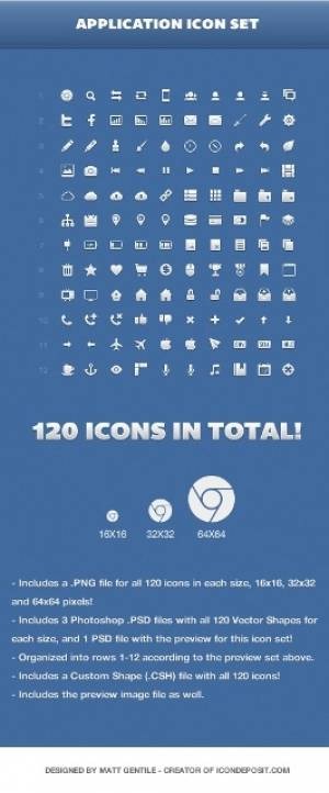 120 icônes vectorielles gratuites - Application Icon Set