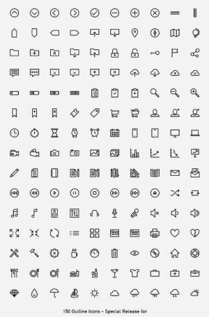 Collection gratuite de 150 icônes - Outlined Iconset