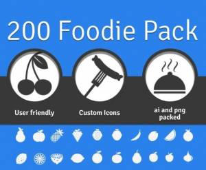 Une Grande collection gratuite d'icônes d'aliments - 200 Foodie Pack